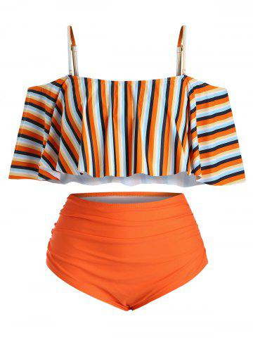Plus Size Striped Ruffled Cold Shoulder Tankini Swimsuit