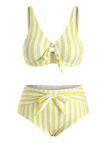 Plus Size Stripe Pattern Tie Front Bikini Swimsuit - YELLOW - XL