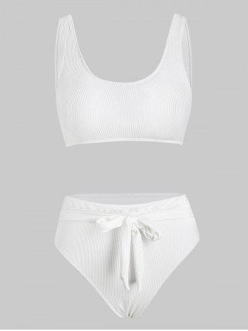 Ribbed Front Tie High Waist Bikini Swimwear - WHITE - XL