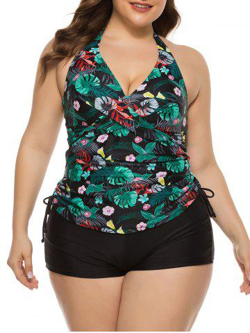 Cinched Side Floral Palm Leaves Plus Size Tankini Swimwear
