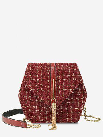 Tweed Fringe Embellished Plaid Pattern Flap Crossbody Bag - RED WINE