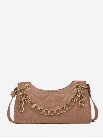 Quilted Chain Shoulder Bag - KHAKI