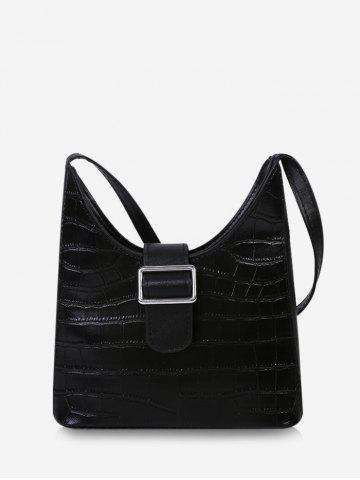 Buckle Embellished Irregular Shoulder Bag - BLACK