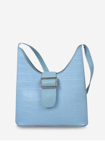 Buckle Embellished Irregular Shoulder Bag - CRYSTAL BLUE