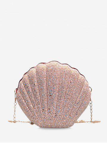 Shell Shaped Chain Sequined Crossbody Bag - PIG PINK