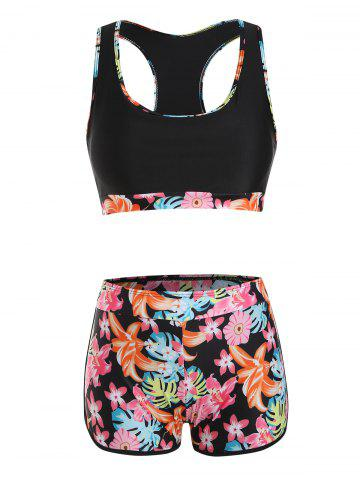 Piping Flower Print Racerback Boyleg Tank Bikini Swimwear