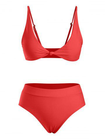 Front Knot High Waist Bikini Swimwear - RED - XL