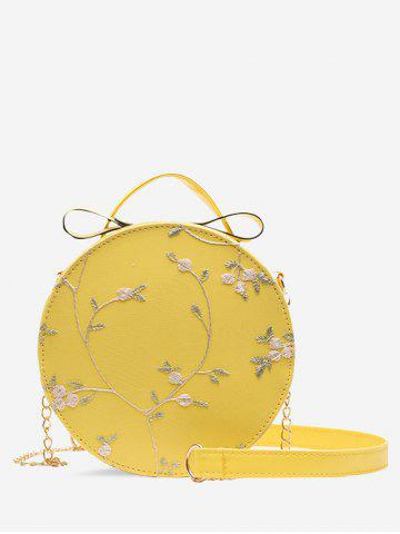 Lace Embroidery Flower Crossbody Canteen Bag - SUN YELLOW