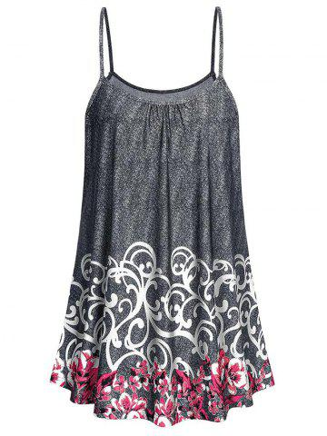 Plus Size Flower Pattern Tunic Cami Top