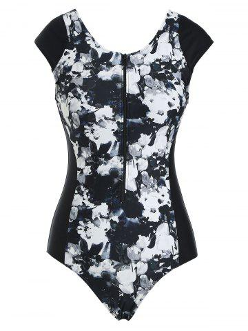 Zip Front Painting Floral One-piece Swimsuit - MULTI - 2XL