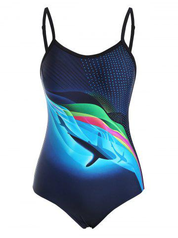 Backless Dolphin Wave Print One-piece Swimsuit