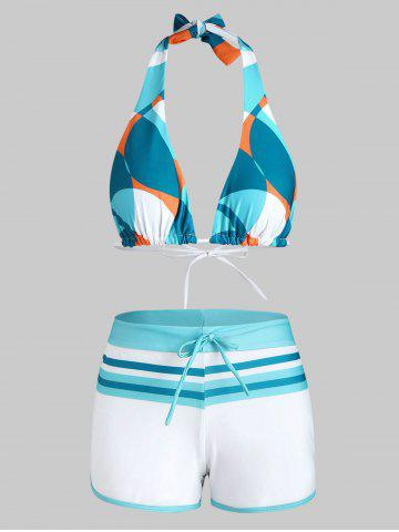Halter Geometric Striped Boyleg Bikini Swimwear - LIGHT BLUE - L