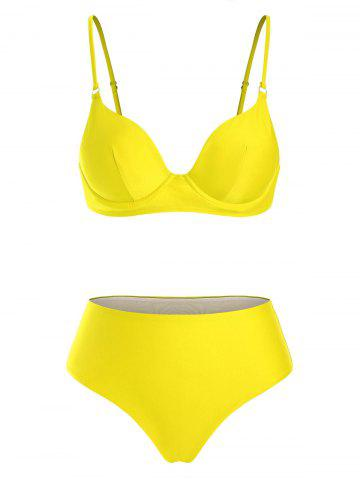 Underwire High Waist Bikini Swimwear - YELLOW - XL