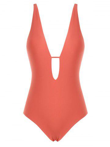 Cut Out Plunging One-Piece Swimsuit - LIGHT PINK - 2XL