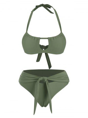 Halter Cutout Front Tie Bikini Swimwear - LIGHT GREEN - L