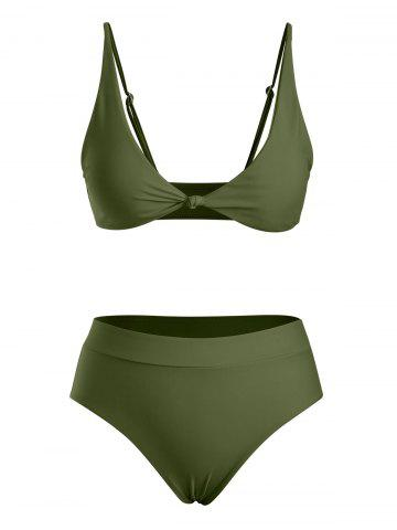 Front Knot High Waist Bikini Swimwear - LIGHT GREEN - XL