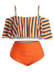 Plus Size Striped Ruffled Cold Shoulder Tankini Swimsuit -