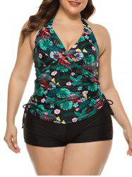 Cinched Side Floral Palm Leaves Plus Size Tankini Swimwear -