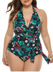 Tied Waist Floral Palm Leaves Plus Size One-piece Swimsuit -