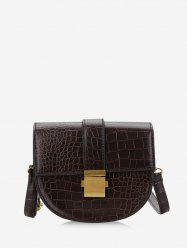 Retro Textured Crossbody Saddle Bag -