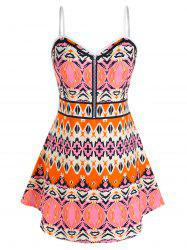 Plus Size Aztec Pattern Backless Skirted Tunic Cami Top -