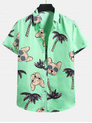 Palm Tree Dog Pattern Button Up Shirt -