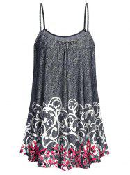 Plus Size Flower Pattern Tunic Cami Top -