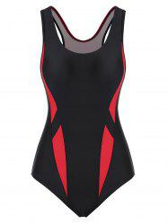 Cutout Racerback Colorblock One-piece Swimsuit -