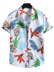 Button Down Tropical Leaf Print Shirt -