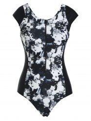 Zip Front Painting Floral One-piece Swimsuit -