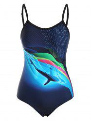 Backless Dolphin Wave Print One-piece Swimsuit -
