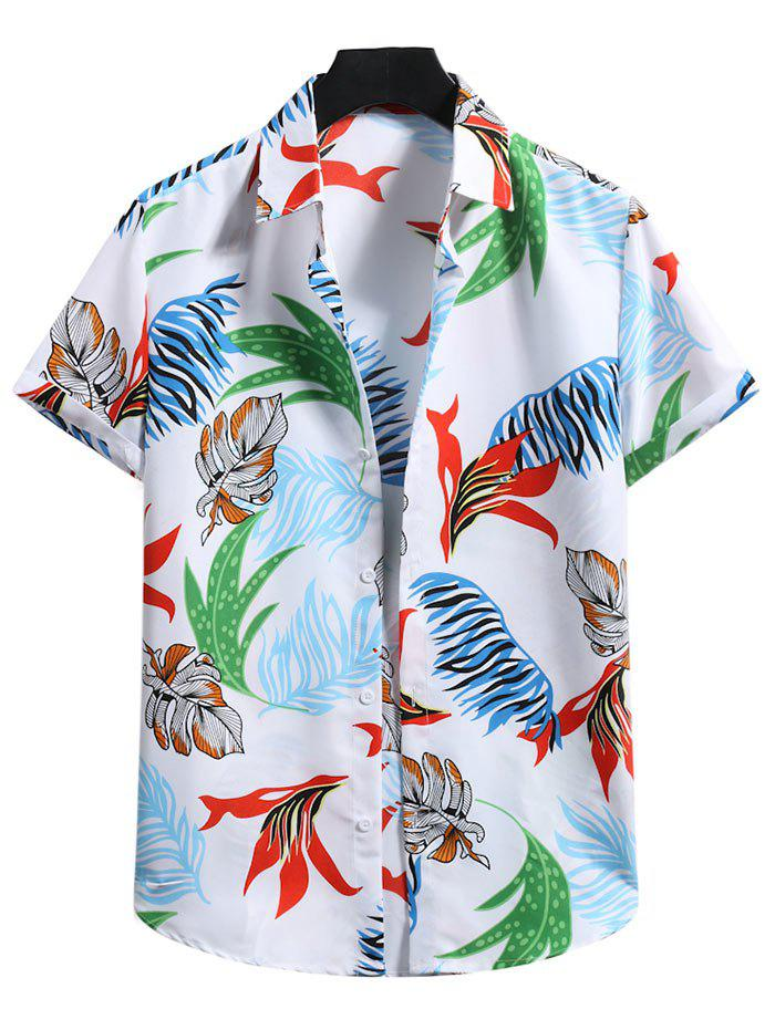 Fancy Button Down Tropical Leaf Print Shirt