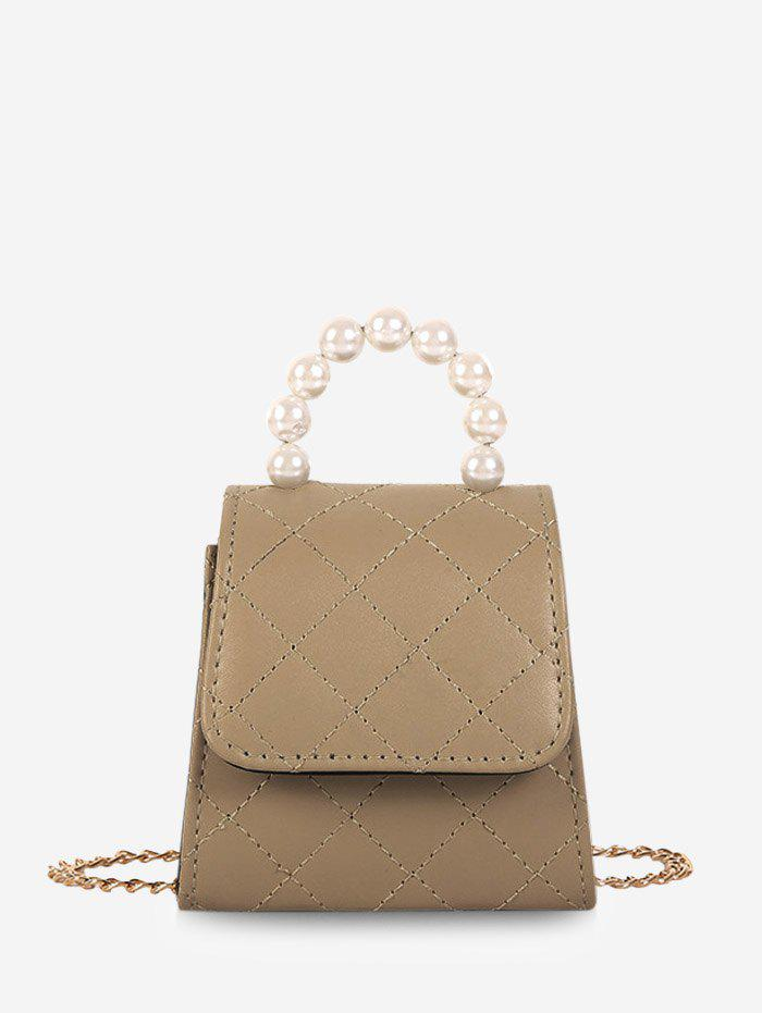 Latest Faux Pearl Quilted Flap Mini Crossbody Bag