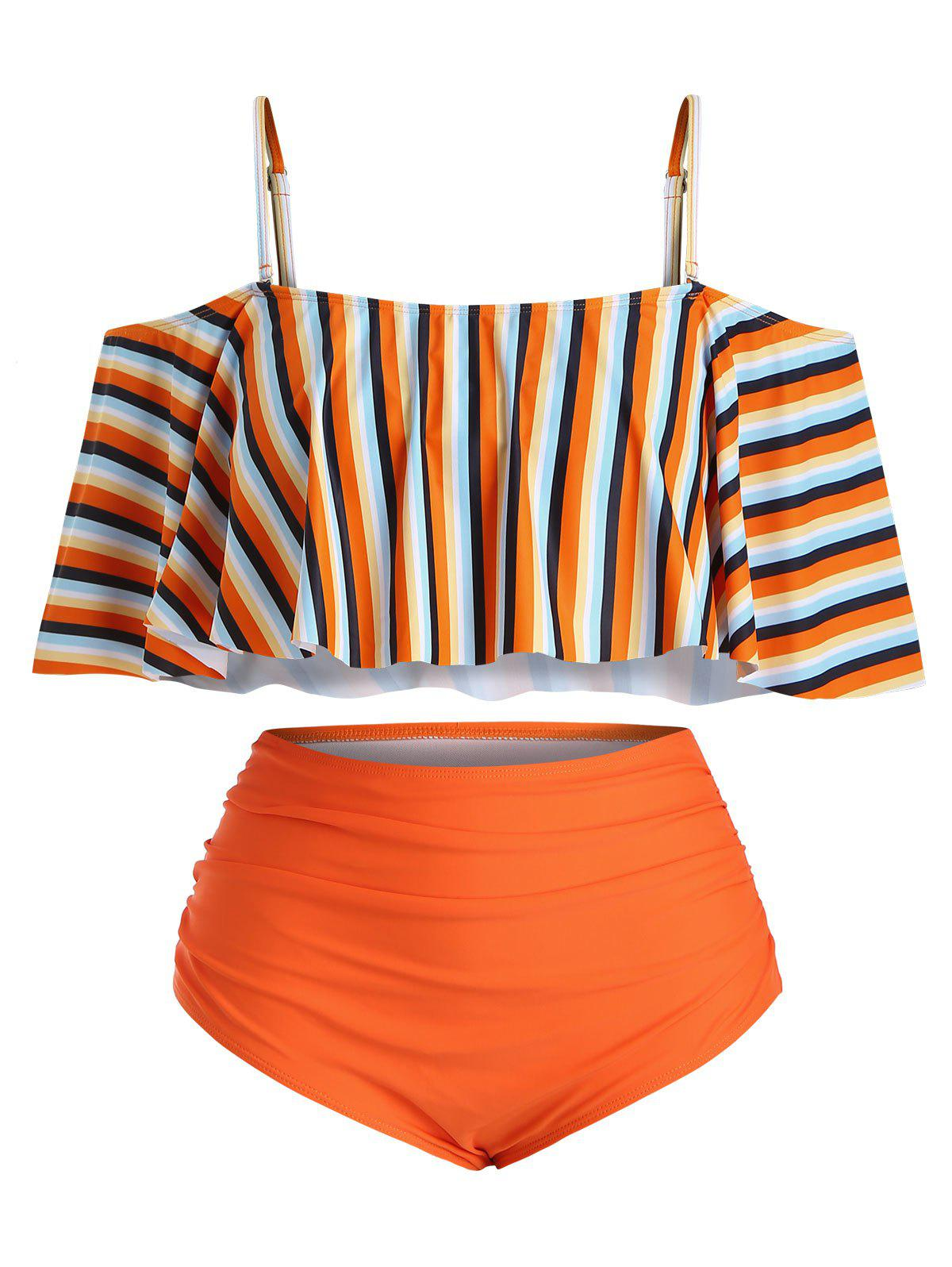 Chic Plus Size Striped Ruffled Cold Shoulder Tankini Swimsuit