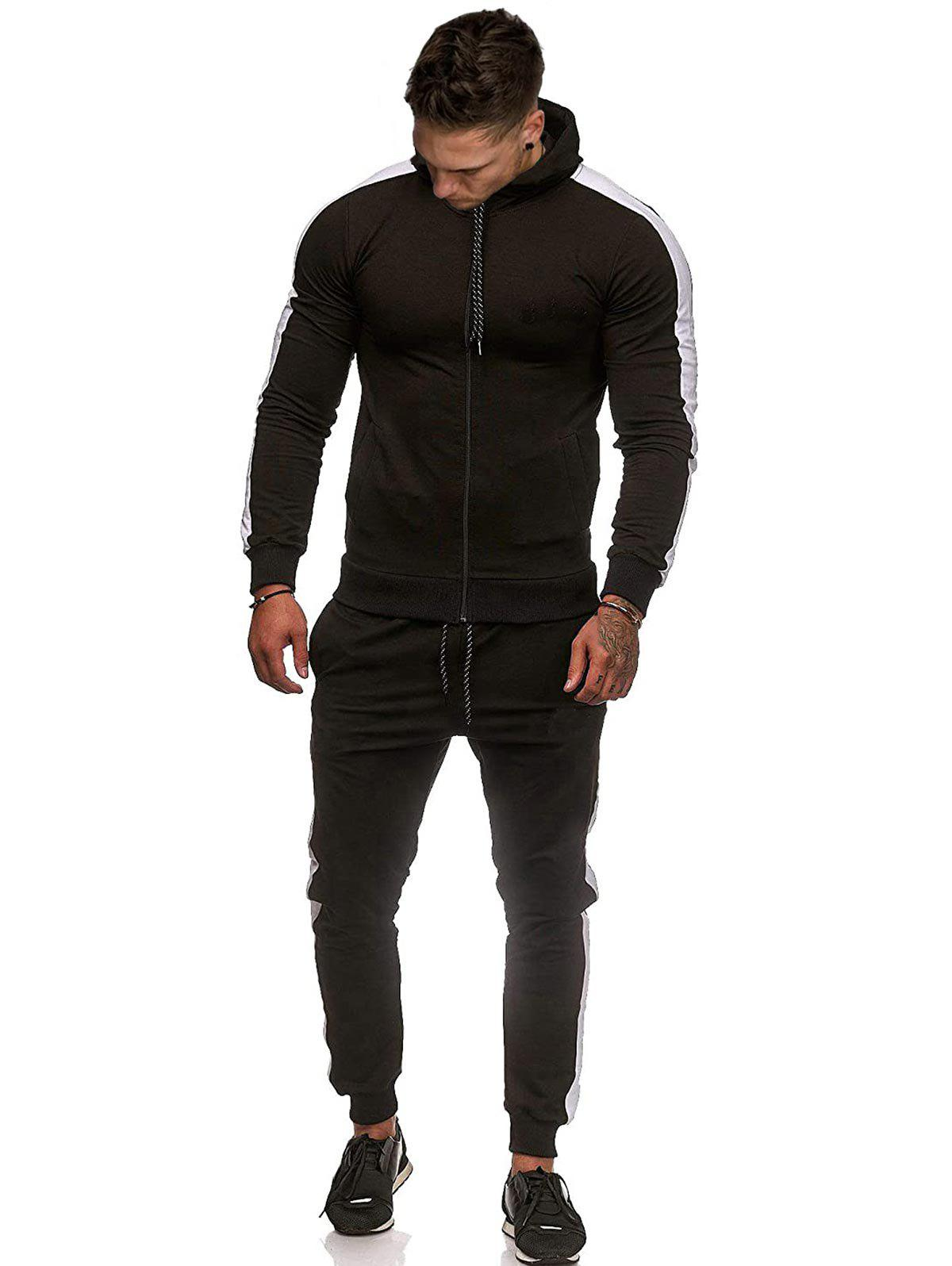 Fancy Contrast Tape Zip Up Hoodie and Pants Two Piece Set