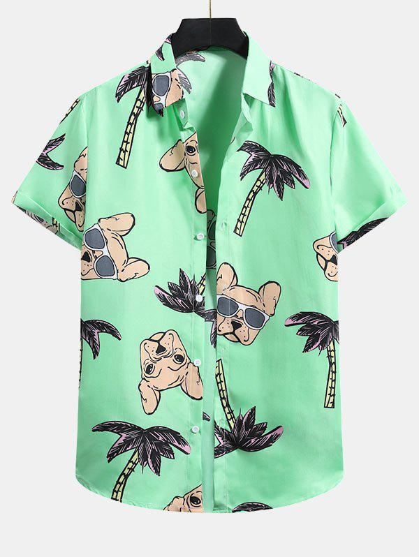 Discount Palm Tree Dog Pattern Button Up Shirt