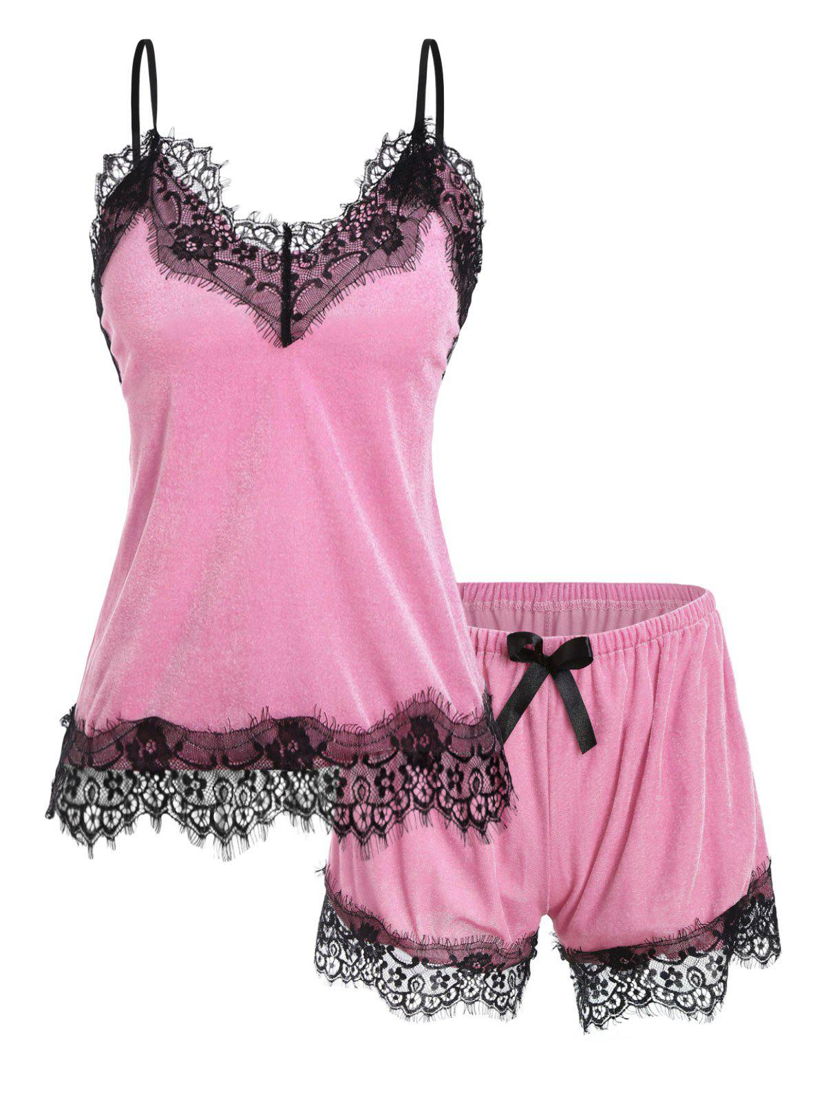 Lace Trim Velour Bowknot Pajama Set