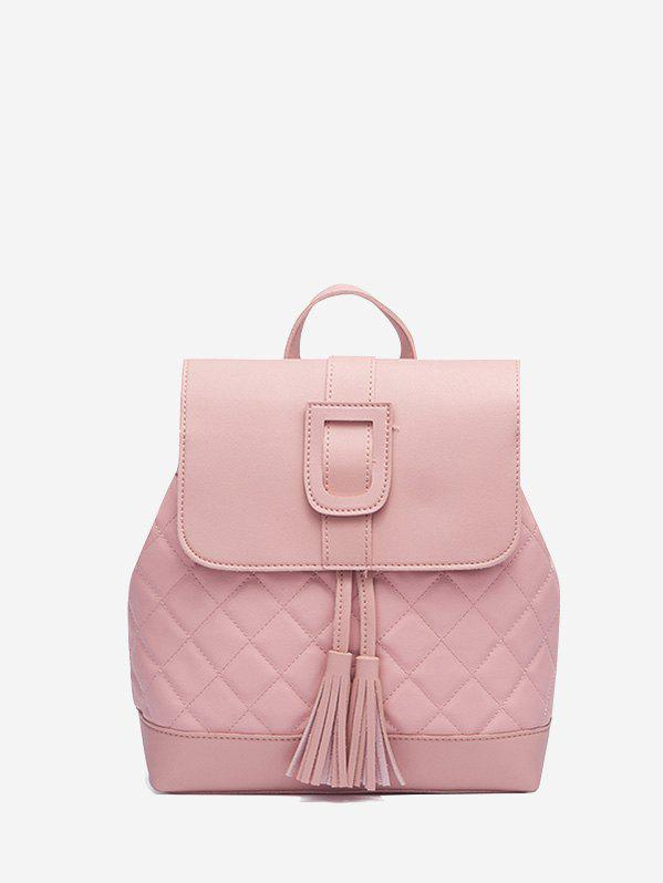 Fancy Solid Tassel Quilted Backpack