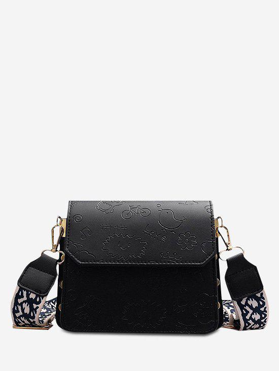 Outfit Doodle Embossed Pattern Wide Strap Crossbody Bag