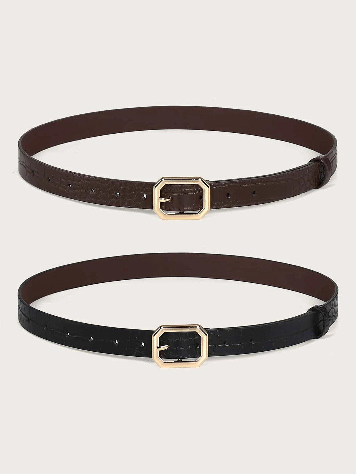 Affordable 2Pcs Animal Embossed Octagon Buckle Belt Set