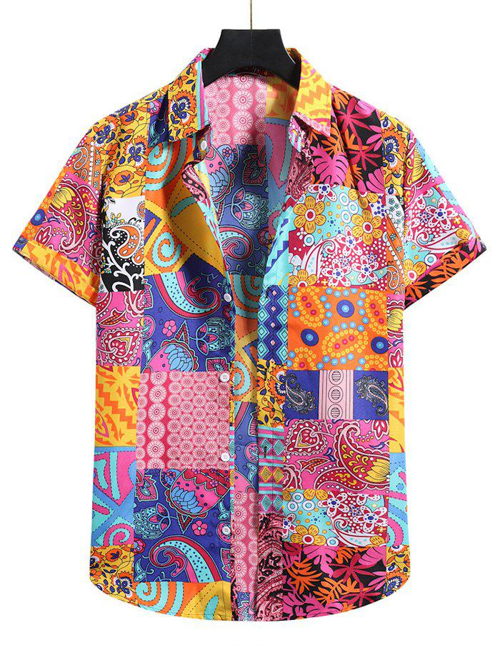 Cheap Paisley Floral Patchwork Short Sleeve Shirt