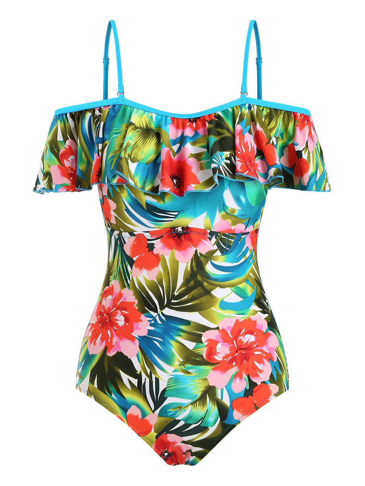 Trendy Tropical Print Flounce Overlay Open Shoulder One-piece Swimsuit