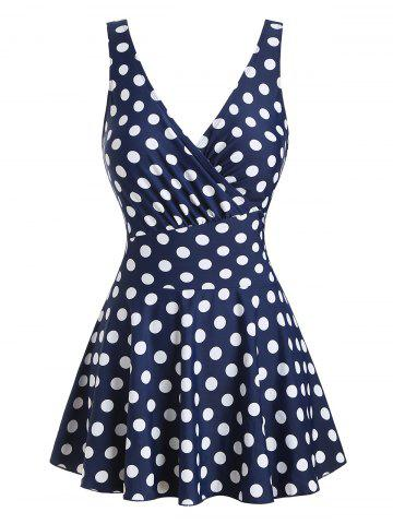 Polka Dot Surplice Skirted One-piece Swimsuit