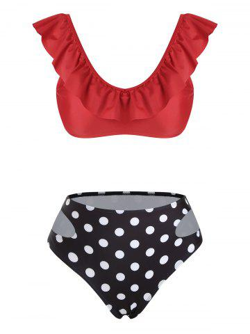 Polka Dot Flounces Cut Out Bikini Swimwear - RED - M