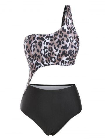One Shoulder Leopard Cutout One-piece Swimsuit - BLACK - XXL