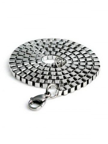 2MM Width Box Chain Stainless Steel Necklace - SILVER - 60CM