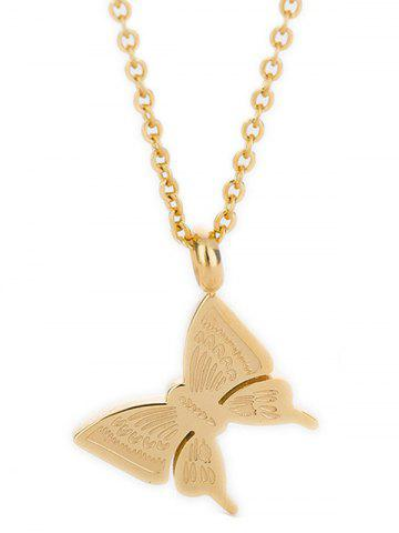 Butterfly Pendant Stainless Steel Necklace - GOLD