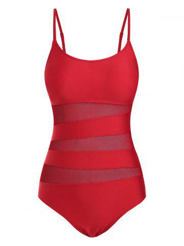 Cami Mesh Panel Solid One-piece Swimsuit - RED - XXL