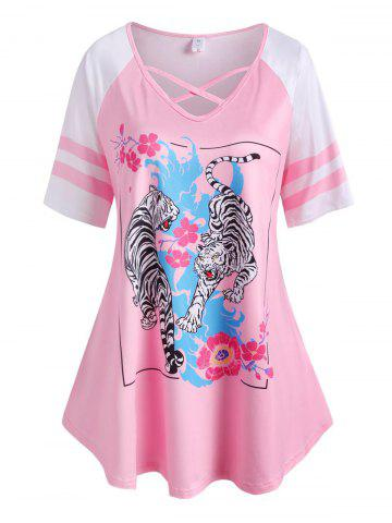 Plus Size Tiger Flower Pattern Raglan Sleeve Cross Tee - LIGHT PINK - 1X