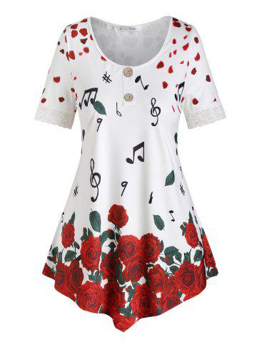 Plus Size Petal Flower Musical Notes Print Lace Panel Tee - WHITE - 4X